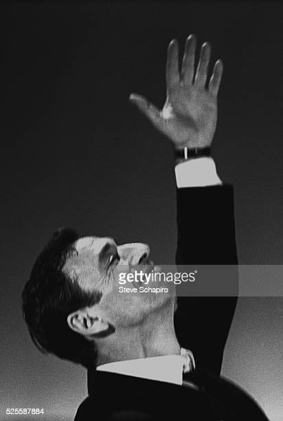 Yves Montand photographed during the run of An Evening With Yves Montand at the John Golden Theatre