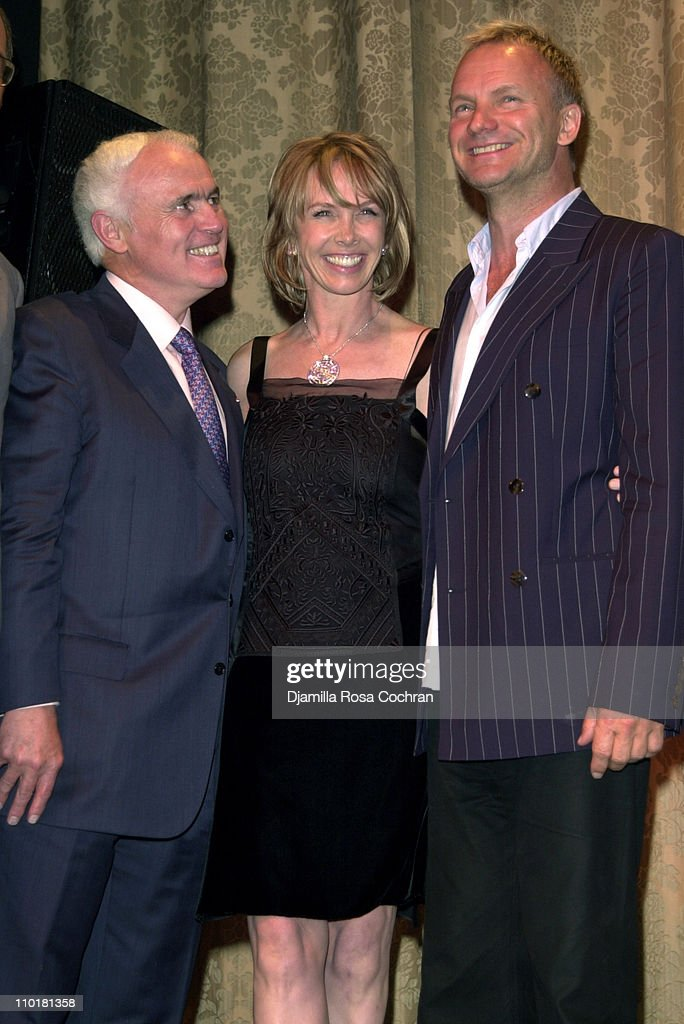 Yves Piaget, Trudie Styler and Sting during Tru(e) Gems Rainforest - Us Benefit Sponsored By Piaget To Honor Trudie Styler at Manhattan Center in New York, New York, United States.