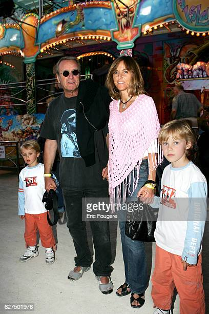 Yves Renier with his wife and children at the 'Tuileries Fun Fair' in Paris