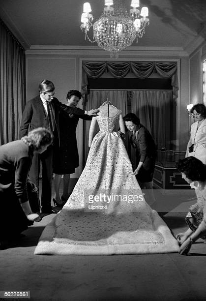 Yves Saint Laurent and Farah Diba's wedding dress December 1959 LIP34207005