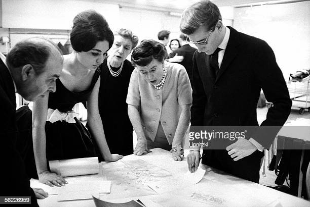 Yves Saint Laurent French couturier and Farah Dibah empress of Iran Paris November 1959 LIP34143001