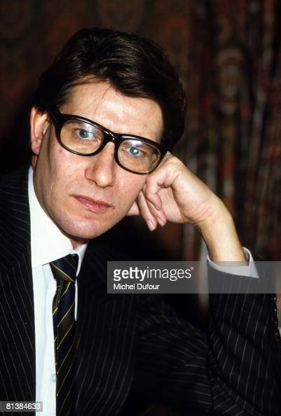 Yves Saint Laurent in his office in 1982 in Paris France