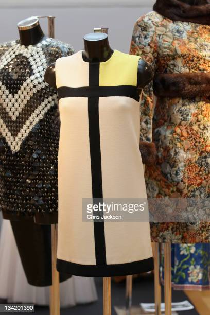 Yves Saint Laurent 'Mondrian' dress expected to fetch 25000 GBP as part of the Ultimate Fashion Exhibition at Christie's on November 28 2011 in...