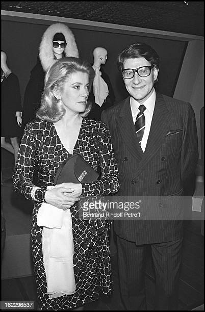 Yves Saint Laurent with Catherine Deneuve at YSL's 35yearold career party Paris