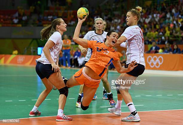 Yvette Broch of Netherlands takes a shot during the Women's Handball Bronze medal match between Netherlands and Norway at Future Arena on Day 15 of...