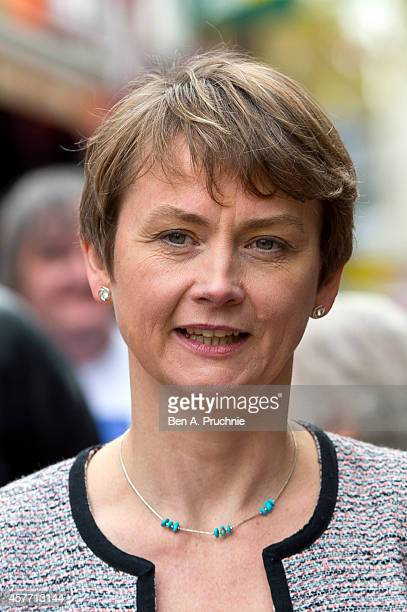 Yvette Cooper campaigns with Labour leader Ed Miliband before the Rochester and Strood byelection on October 23 2014 in Chatham England The...