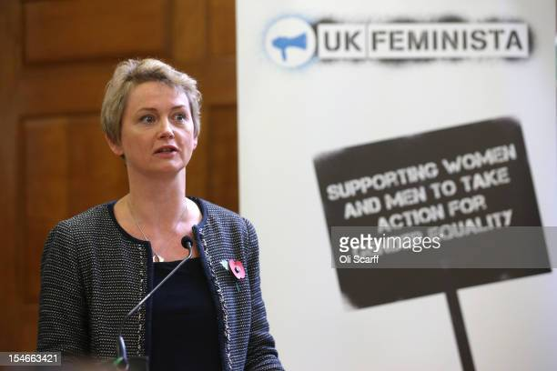 Yvette Cooper MP speaks at a rally organised by UK Feminista to call for equal rights for men and women on October 24 2012 in London England Hundreds...