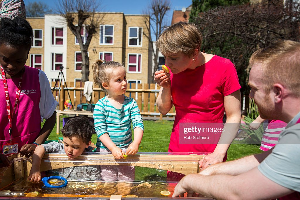 Yvette Cooper, prospective parliamentary candidate for the Labour Party in Normanton, Pontefract and Castleford, meets parents, children and staff at Stockwell Gardens Nursery for the launch of the Labour Party's women's manifesto on April 15, 2015 in London, England. The Labour Party have launched their women's manifesto which includes a pledge to provide more free childcare and leave both for fathers and grandparents.