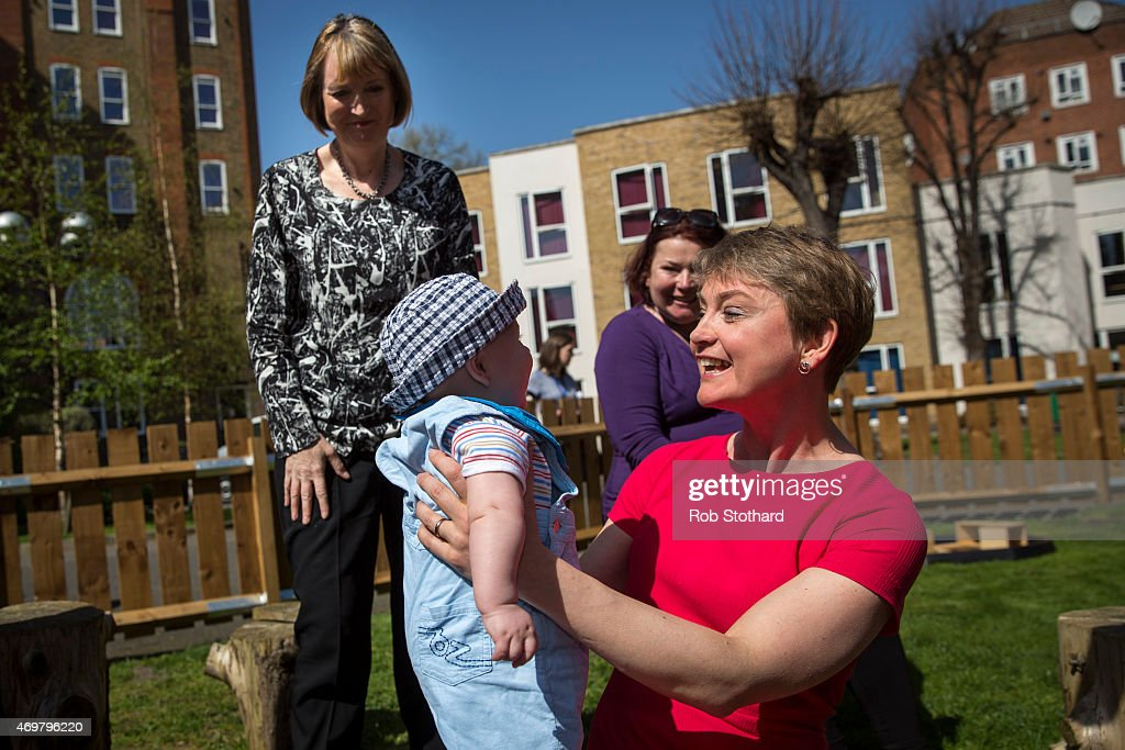 Yvette Cooper, prospective parliamentary candidate for the Labour Party in Normanton, Pontefract and Castleford, holds Janosch, aged 5 months, at Stockwell Gardens Nursery during the launch of the Labour Party's women's manifesto on April 15, 2015 in London, England. The Labour Party have launched their women's manifesto which includes a pledge to provide more free childcare and leave both for fathers and grandparents.