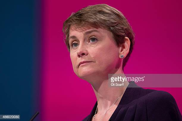 Yvette Cooper the Shadow Home Secretary delivers her speech to delegates on the final day of the Labour Party Conference on September 24 2014 in...