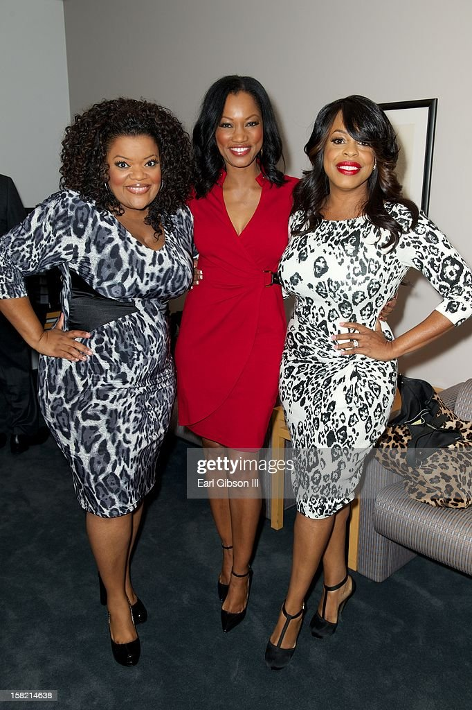 Yvette Nicole Brown, Garcelle Beauvais and Niecy Nash pose for a photo at the 44th NAACP Images Awards Press Conference at The Paley Center for Media on December 11, 2012 in Beverly Hills, California.