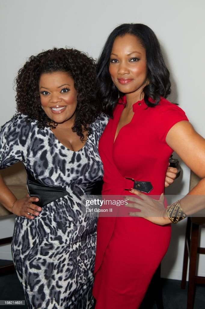 Yvette Nicole-Brown and Garcelle Beauvais pose for a photo at the 44th NAACP Image Awards Press Conference at The Paley Center for Media on December 11, 2012 in Beverly Hills, California.