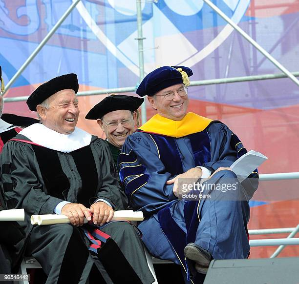 Yvon Chouinard Founder of Patagonia and Eric Schmidt Chairman of the Board and Chief Executive Office Google during the 2009 Commencement ceremony at...