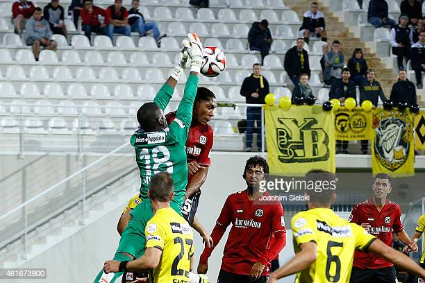 Yvon Mvogo and Marcelo during a friendly match between Young Boys Bern and Hannover 96 on January 17 2015 in Belek Turkey