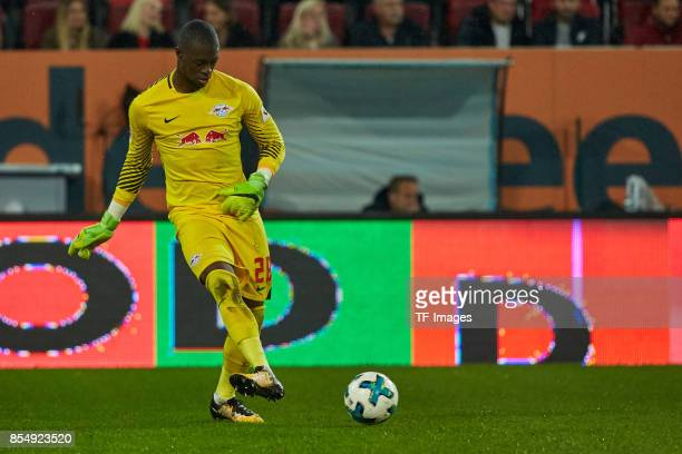 Yvon Mvogo of Leipzig controls the ball during the Bundesliga match between FC Augsburg and RB Leipzig at WWKArena on September 19 2017 in Augsburg...