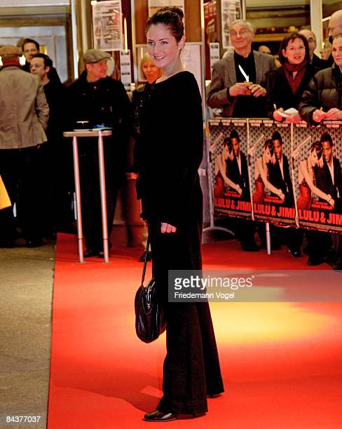 Yvonne Burbach poses on the red carpet as she arrives for the premiere of the film 'Lulu and Jimi' by director Oscar Roehler at the Lichtburg on...
