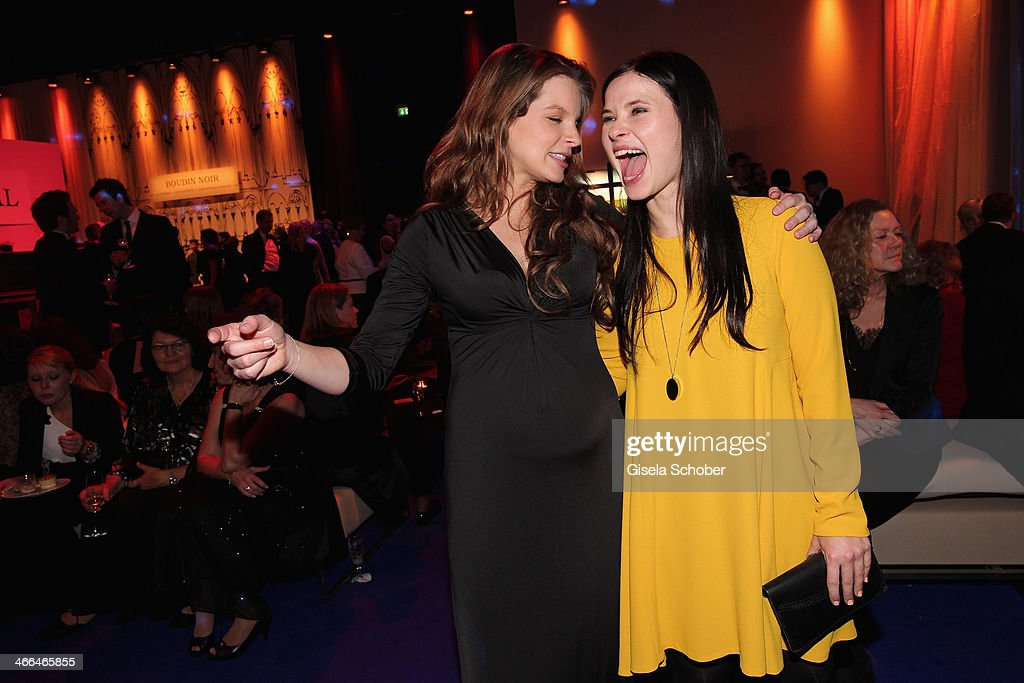 Yvonne Catterfeld and Anna Fischer attend the after show party of Goldene Kamera 2014 Hangar 7 at Tempelhof Airport on February 1 2014 in Berlin...