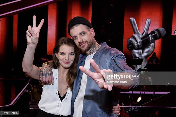 Yvonne Catterfeld and Boris Alexander Stein pose during the 'The Voice of Germany' semi finals on December 11 2016 in Berlin Germany The finals will...
