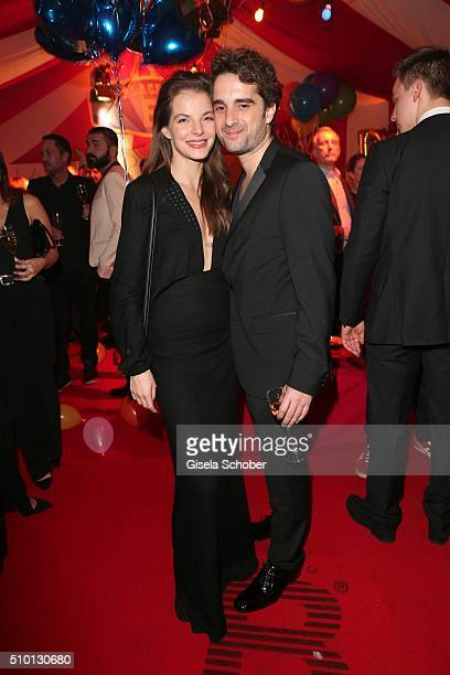 Yvonne Catterfeld and her partner Oliver Wnuk during the Bild 'Place to B' Party at Borchardt during the 66th Berlinale International Film Festival...