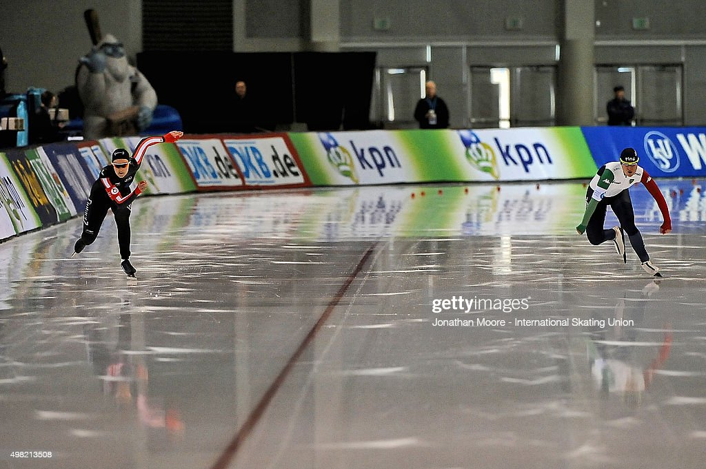 Yvonne Daldossi of Italy and Jessica Gregg of Canada compete in the Women's 500m Division B race on day two of the ISU World Cup Speed Skating Salt...