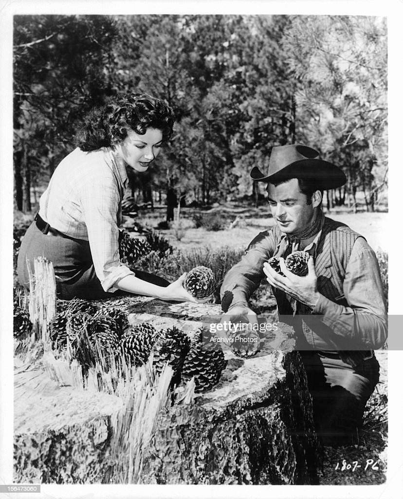 Yvonne De Carlo and Rory Calhoun collect pine cones during a break from shooting the film 'Raw Edge' 1956