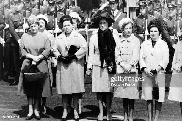 Yvonne De Gaulle on the left during the visit of French president on October 6 1964 in Buenos Aires Argentina