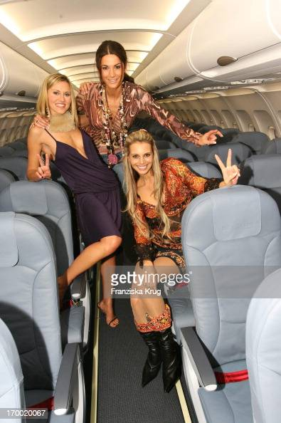 Yvonne Hölzel Mariella Ahrens And Janina Martig Posing In The Airbus 'Fly Into The Sunshine' Air Berlin Medientreff in Hangar 2 In Event Center...