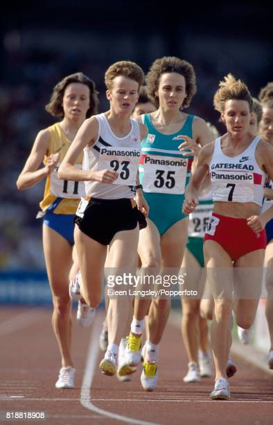Yvonne Murray Anne Williams and Christina Cahill in action for Great Britain during an athletics meet in Birmingham circa 1992