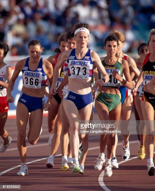Yvonne Murray of Great Britain running in the women's 10000 metres competition during the World Athletics Championships in Gothenburg Sweden circa...