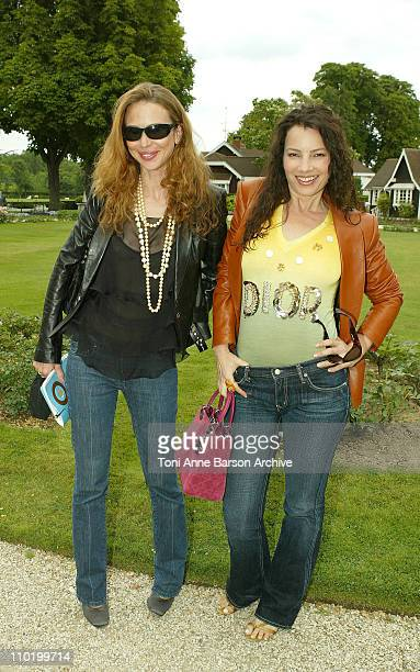 Yvonne Scio and Fran Drescher during 2004 Paris Fashion Week Christian Dior Haute Couture Fall/Winter 2004 Arrivals at Polo de Paris in Paris France