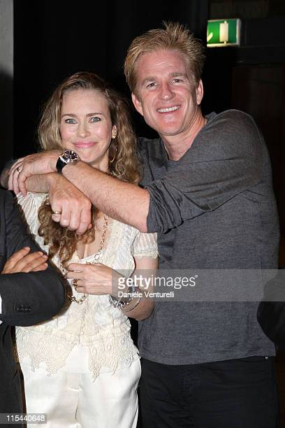 Yvonne Scio and Matthew Modine attend the Capri Hollywood Film Festival Milan Dinner Party at Old Fashion Cafe on October 13 2008 in Milan Italy