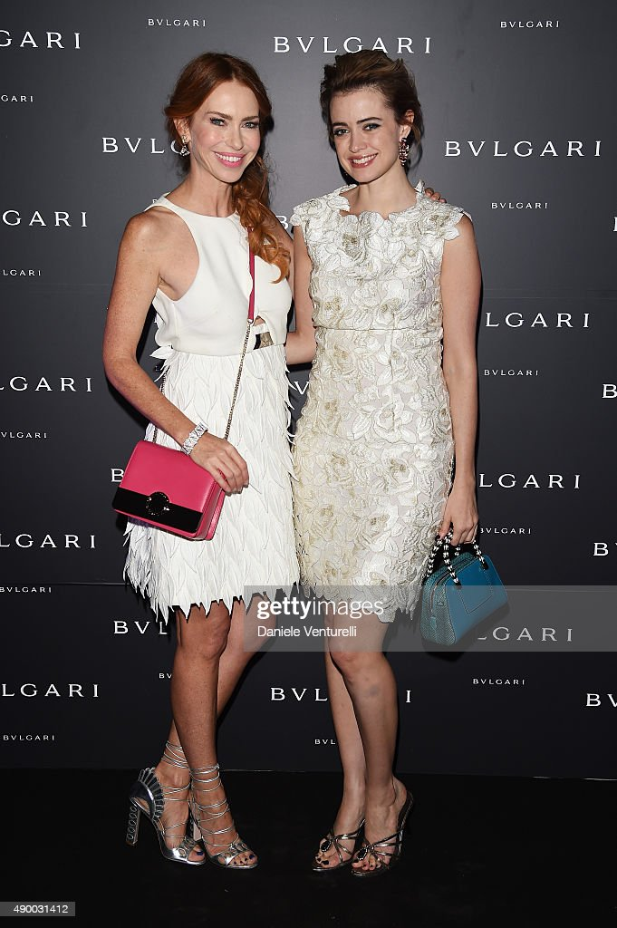 Yvonne Scio and Nathalie Rapti Gomez attends the Bulgari dinner party during the Milan Fashion Week Spring/Summer 2016 on September 25, 2015 in Milan, Italy.