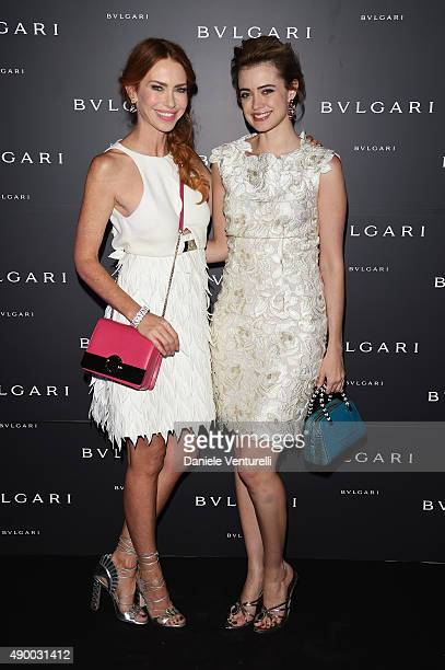 Yvonne Scio and Nathalie Rapti Gomez attends the Bulgari dinner party during the Milan Fashion Week Spring/Summer 2016 on September 25 2015 in Milan...