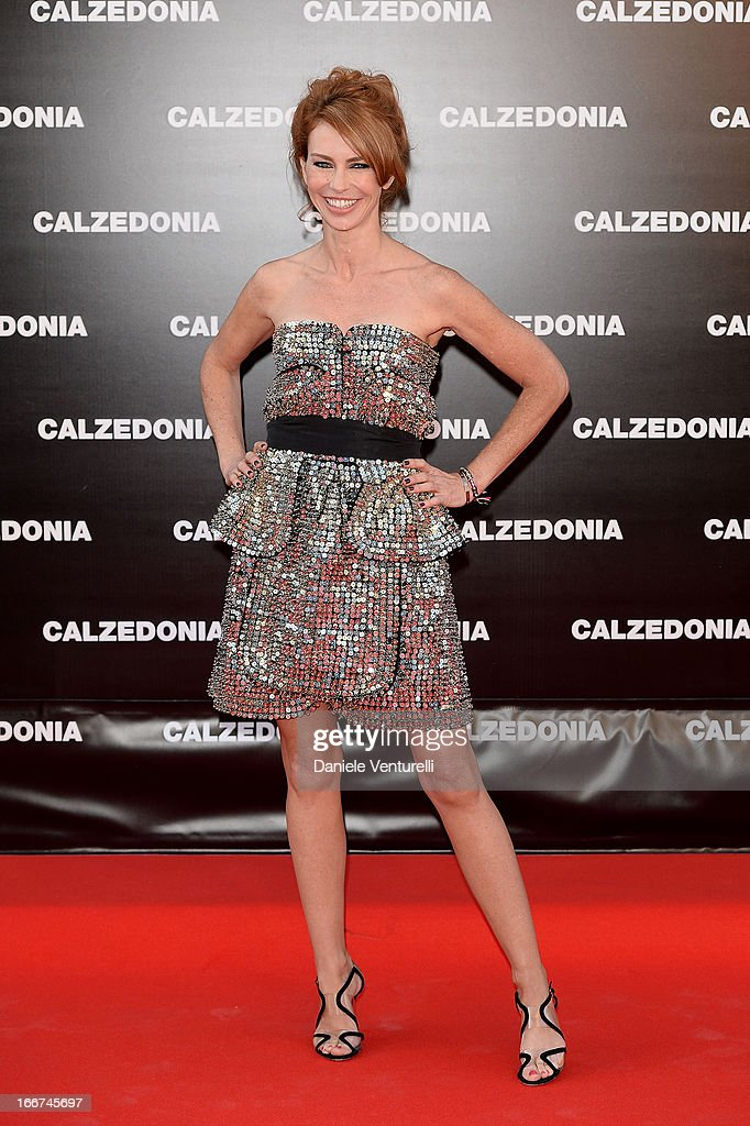 Yvonne Scio arrives at the Calzedonia 'Forever Together' show on April 16, 2013 in Rimini, Italy.