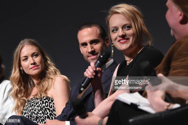 Yvonne Strahovski and Joseph Fiennes speak onstage during 'The Handmaid's Tale' Premiere at BMCC Tribeca PAC on April 21 2017 in New York City