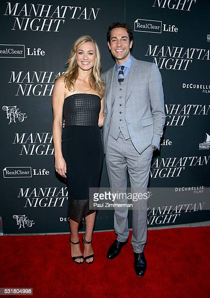 Yvonne Strahovski and Zachary Levi attend the 'Manhattan Night' New York Screening at Regal Cinemas Union Square on May 16 2016 in New York City