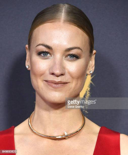 Yvonne Strahovski arrives at the 69th Annual Primetime Emmy Awards at Microsoft Theater on September 17 2017 in Los Angeles California