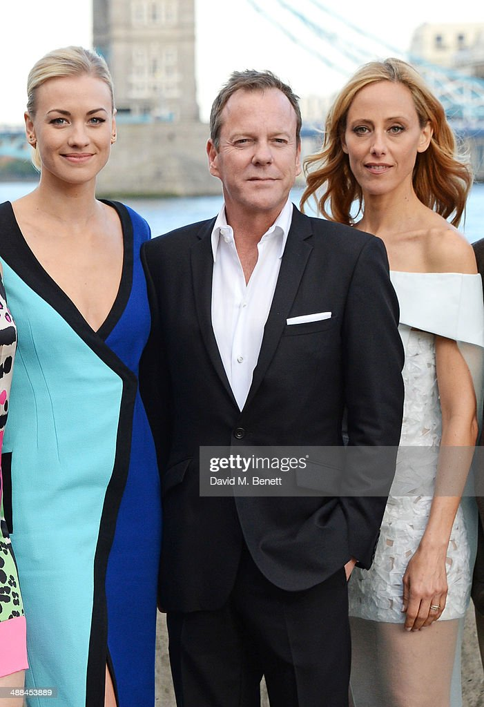 Yvonne Strahovski, Kiefer Sutherland and Kim Raver attend the UK premiere of '24: Live Another Day' at Old Billingsgate Market on May 6, 2014 in London, England.