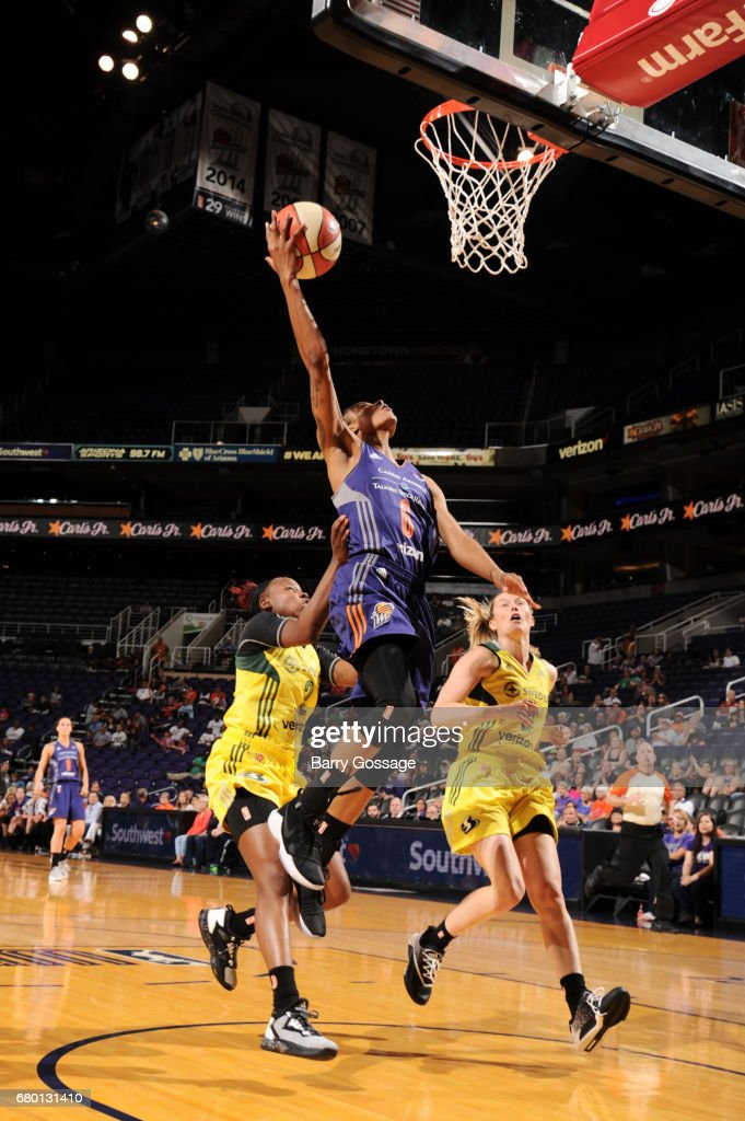Yvonne Turner #6 of the Phoenix Mercury goes up for a shot against the Seattle Storm during a preseason game on May 7, 2017 at Talking Stick Resort Arena in Phoenix, Arizona.