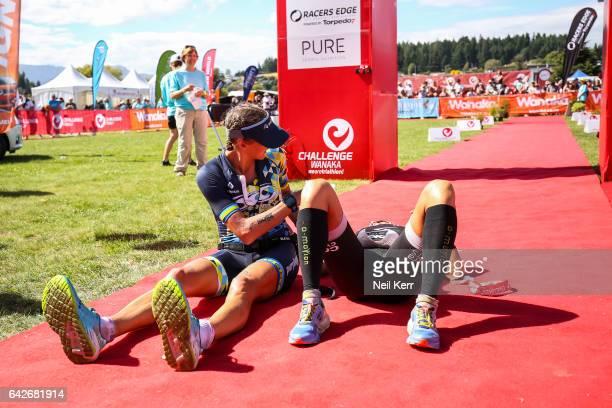 Yvonne van Vlerken Laura Siddall at the finish of the 2017 Challenge Wanaka on February 18 2017 in Wanaka New Zealand
