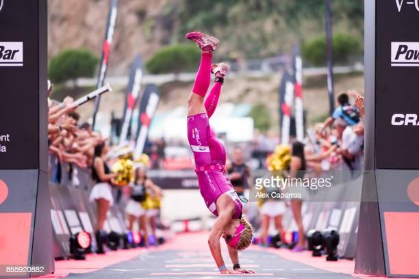 Yvonne Van Vlerken of The Netherlands celebrates after winning IRONMAN Barcelona on September 30 2017 in Calella Barcelona province Spain