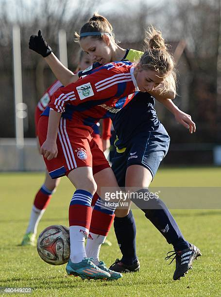 Yvonne Zielinski of Koeln and Kristina Schuster of Muenchen compete for the ball during the Women's Second Bundesliga match between Bayern Muenchen...