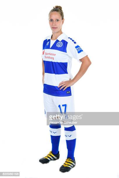 Yvonne Zielinski of MSV Duisburg poses during the Allianz Frauen Bundesliga Club Tour at MSV Duisburg on August 17 2017 in Duisburg Germany