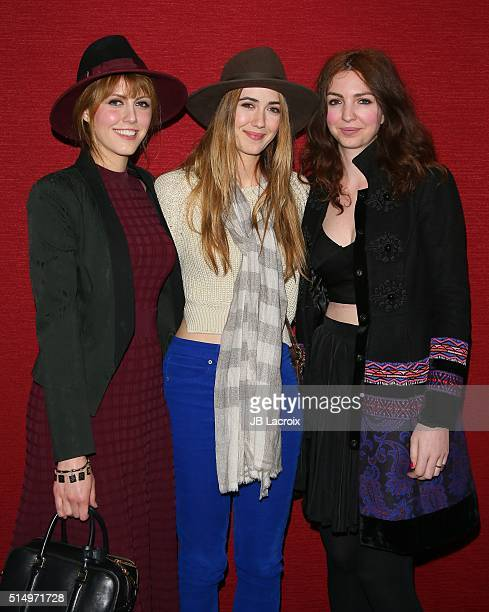 Yvonne Zima Madeline Zima and Vanessa Zima attend the premiere of Film Movement's 'The automatic hate' on March 11 2016 in Santa Monica California