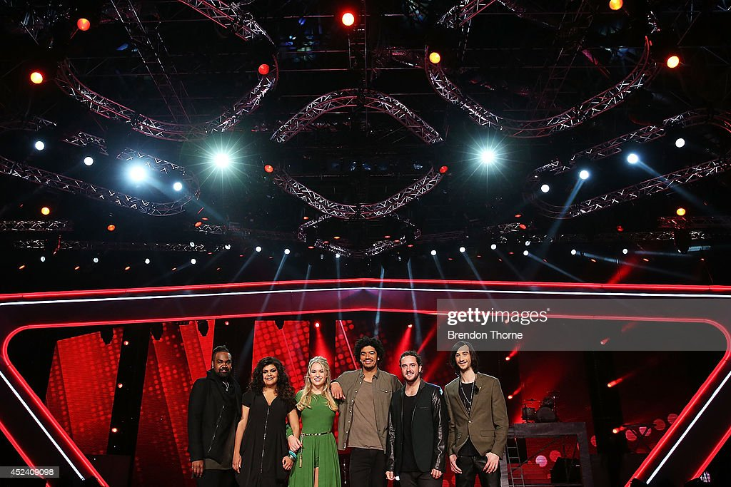 Zaachariah Fielding, Kristal West, Anja Nissen, Johnny Rollins, Jackson Thomas and Frank Lakoudis pose during a media call with the final five contestants and their coaches from The Voice at Fox Studios on July 20, 2014 in Sydney, Australia.