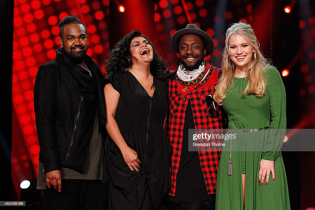 Zaachariah Fielding, Kristal West, Will.i.am and Anja Nissen pose during a media call with the final five contestants and their coaches from The Voice at Fox Studios on July 20, 2014 in Sydney, Australia.