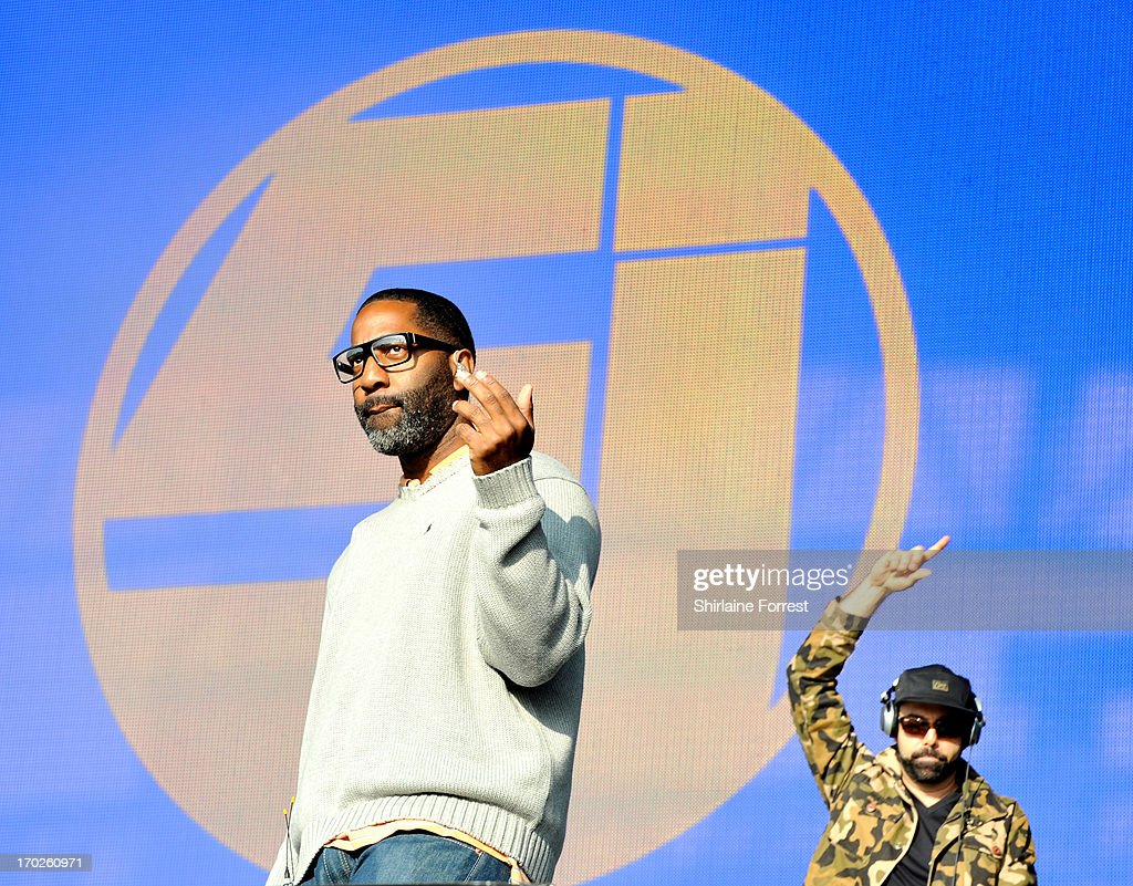 Zaakir and <a gi-track='captionPersonalityLinkClicked' href=/galleries/search?phrase=Cut+Chemist&family=editorial&specificpeople=805945 ng-click='$event.stopPropagation()'>Cut Chemist</a> of Jurassic 5 perform at Day 2 of the Parklife Festival at Heaton Park on June 9, 2013 in Manchester, England.