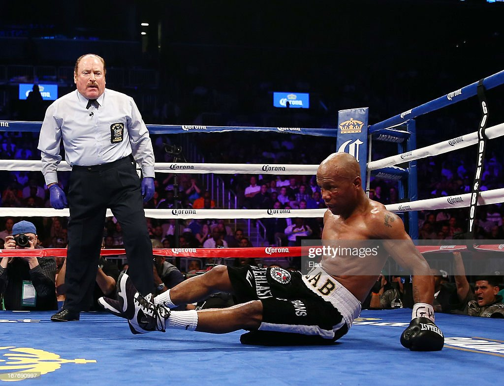 <a gi-track='captionPersonalityLinkClicked' href=/galleries/search?phrase=Zab+Judah&family=editorial&specificpeople=172008 ng-click='$event.stopPropagation()'>Zab Judah</a> is knocked down by Danny Garcia during the WBA Super and WBC Super Lightweight title fight at Barclays Center on April 27, 2013 in the Brooklyn borough of New York City.