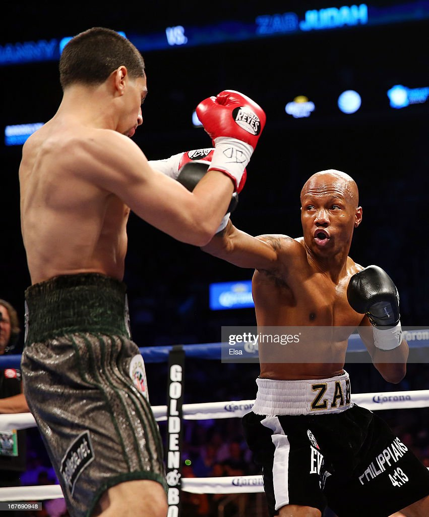 <a gi-track='captionPersonalityLinkClicked' href=/galleries/search?phrase=Zab+Judah&family=editorial&specificpeople=172008 ng-click='$event.stopPropagation()'>Zab Judah</a> punches Danny Garcia during the WBA Super and WBC Super Lightweight title fight at Barclays Center on April 27, 2013 in the Brooklyn borough of New York City.Garcia was declared the winner after 12 rounds.