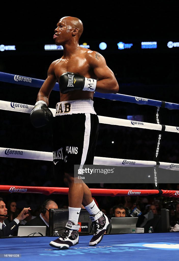 <a gi-track='captionPersonalityLinkClicked' href=/galleries/search?phrase=Zab+Judah&family=editorial&specificpeople=172008 ng-click='$event.stopPropagation()'>Zab Judah</a> reacts as he heads to his corner in between rounds against Danny Garcia during the WBA Super and WBC Super Lightweight title fight at Barclays Center on April 27, 2013 in the Brooklyn borough of New York City.